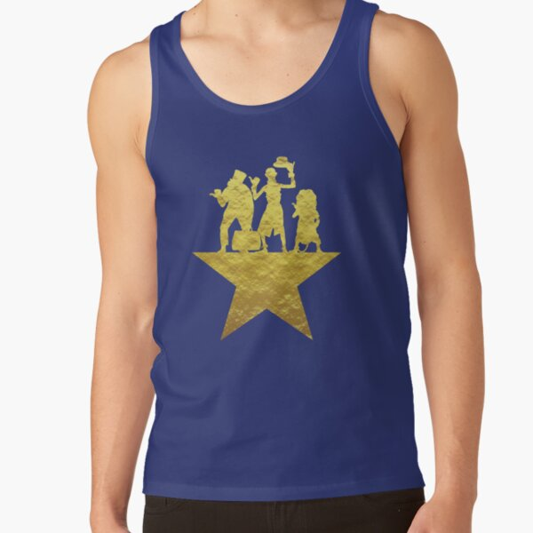 Hitchhiking Ghosts Hamilton Star Mashup Black and Gold Tank Top