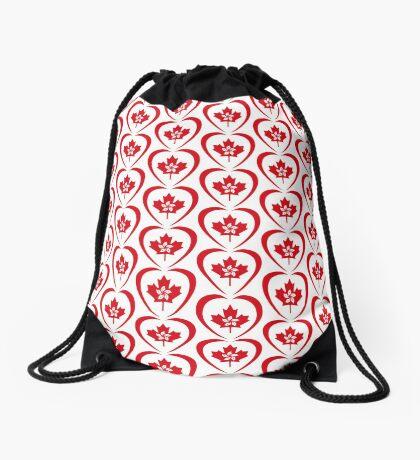 Hong Konger Canadian Multinational Patriot Flag Series (Heart) Drawstring Bag
