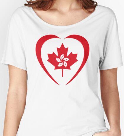 Hong Konger Canadian Multinational Patriot Flag Series (Heart) Relaxed Fit T-Shirt