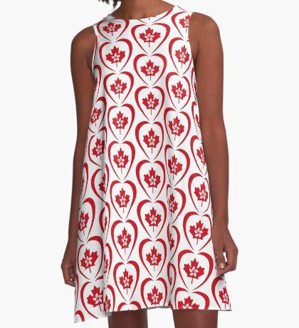 Hong Konger Canadian Multinational Patriot Flag Series (Heart) A-Line Dress