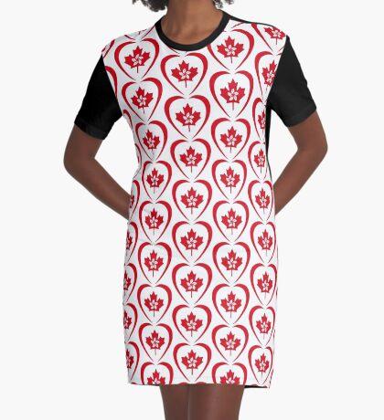 Hong Konger Canadian Multinational Patriot Flag Series (Heart) Graphic T-Shirt Dress