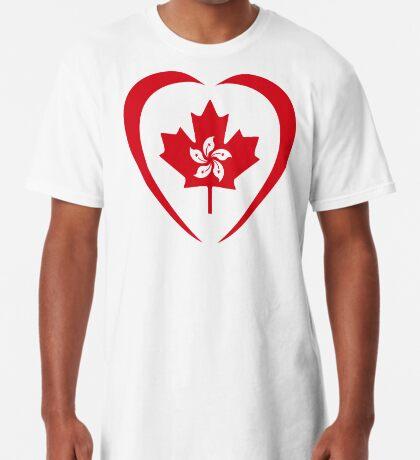 Hong Konger Canadian Multinational Patriot Flag Series (Heart) Long T-Shirt