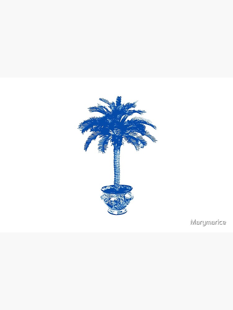 Potted Palm Tree, cobalt blue and white by Marymarice
