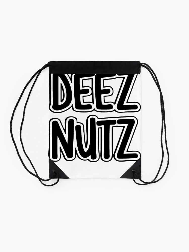 Alternate view of Deez Nuts [Black] Drawstring Bag