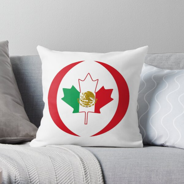 Mexican Canadian Multinational Patriot Flag Series Throw Pillow