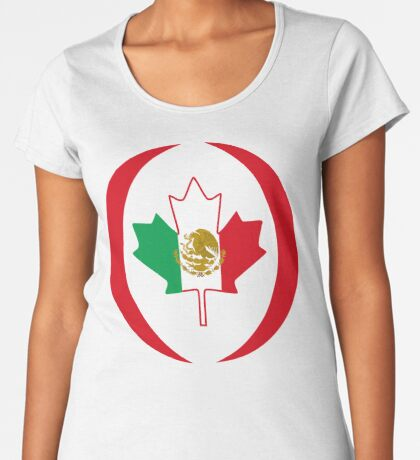 Mexican Canadian Multinational Patriot Flag Series Premium Scoop T-Shirt