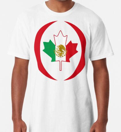 Mexican Canadian Multinational Patriot Flag Series Long T-Shirt