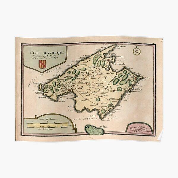 Vintage Mallorca Inselkarte (1715) Poster