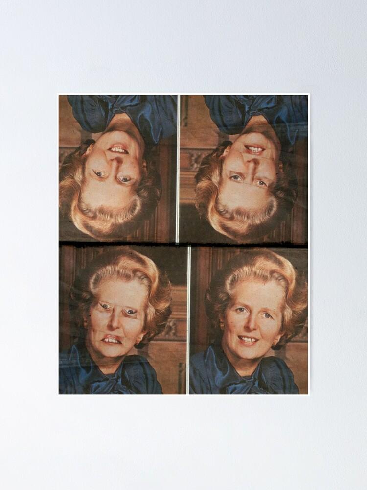 Alternate view of Margaret Thatcher upside down Face. Thatcher illusion. Thatcher Effect Poster