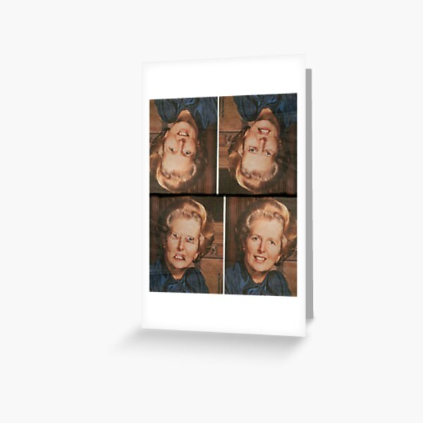 Margaret Thatcher upside down Face. Thatcher illusion. Thatcher Effect Greeting Card