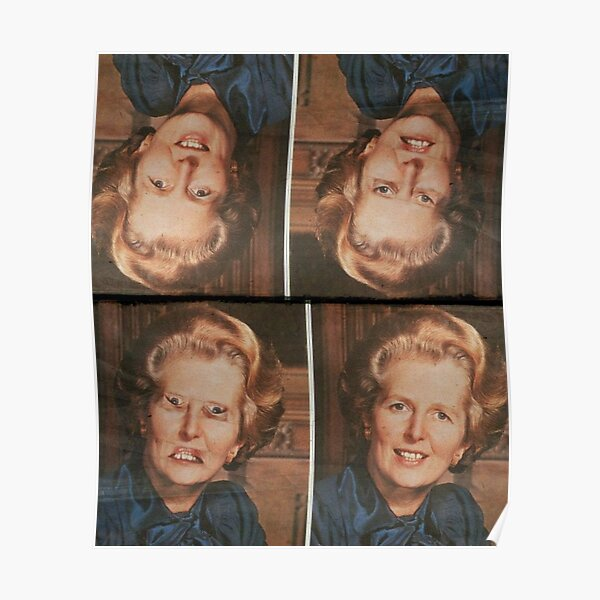 Margaret Thatcher upside down Face. Thatcher illusion. Thatcher Effect Poster