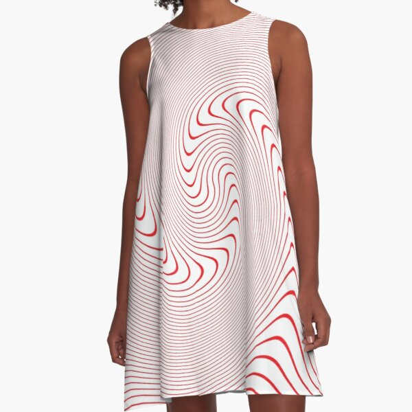 Drawings of a Wave, #Spiral, #Symmetry, #illusion, #drawings, wave A-Line Dress