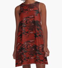 Red, White, and Black Marble A-Line Dress