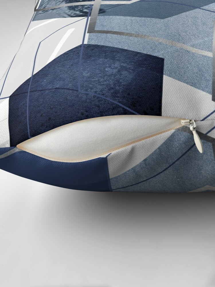 Alternate view of Blue and Grey Geo Throw Pillow