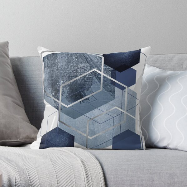 Blue and Grey Geo Throw Pillow