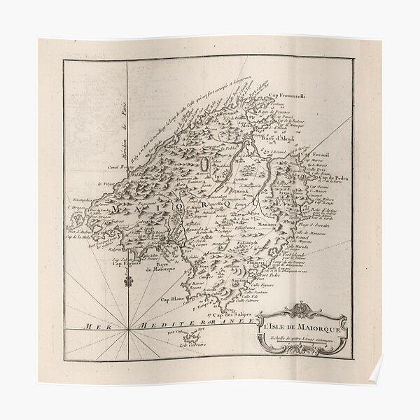 Vintage Mallorca Spanien Karte (1764) Poster
