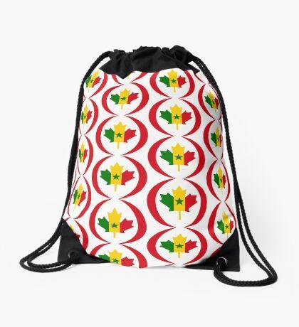 Senegalese Canadiain Multinational Patriot Flag Series Drawstring Bag