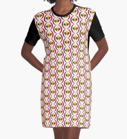Senegalese Canadiain Multinational Patriot Flag Series Graphic T-Shirt Dress