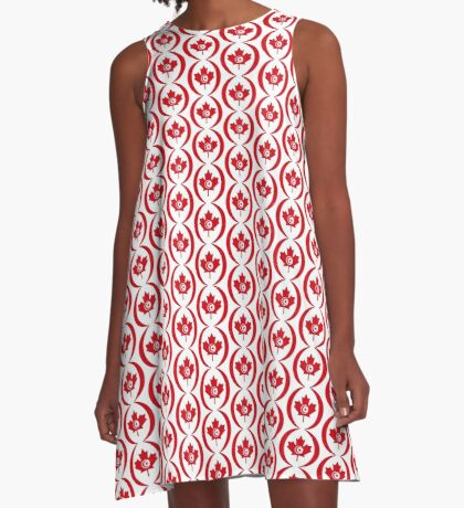 Tunisian Canadian Multinational Patriot Flag Series A-Line Dress