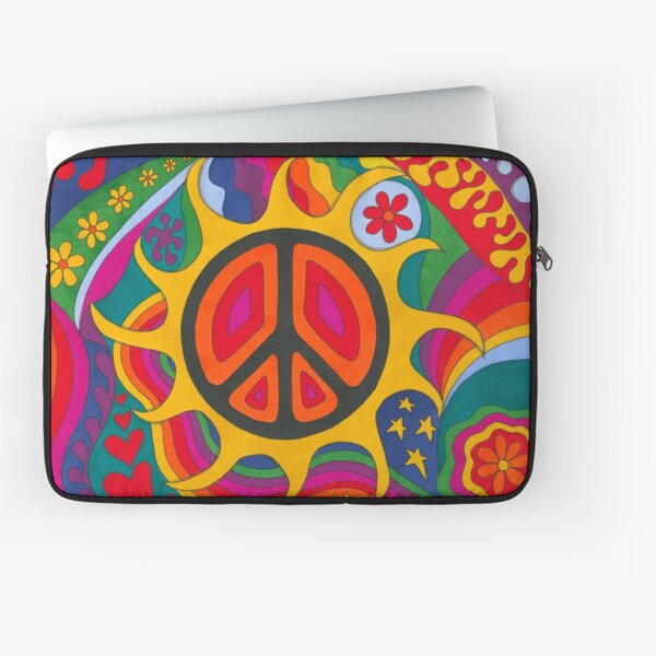 Psychedelic Flaming Peace Laptop Sleeve