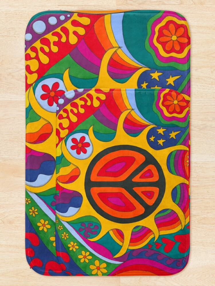 Alternate view of Psychedelic Flaming Peace Bath Mat