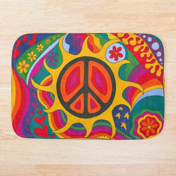 Psychedelic Flaming Peace Bath Mat