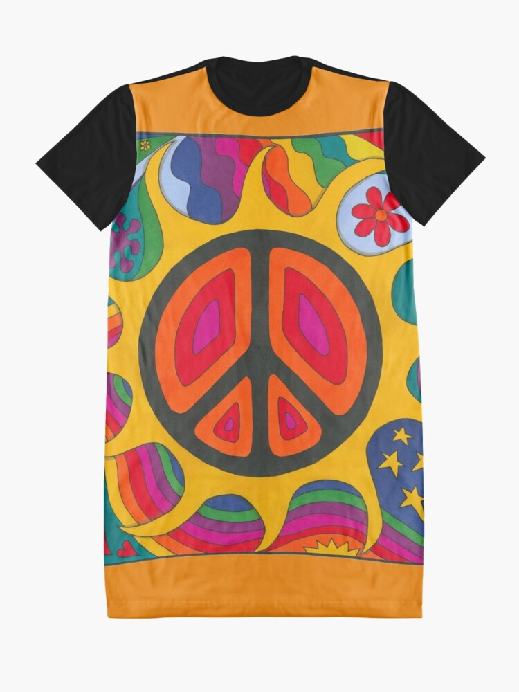 Alternate view of Psychedelic Flaming Peace Graphic T-Shirt Dress