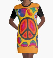 Psychedelic Flaming Peace Graphic T-Shirt Dress