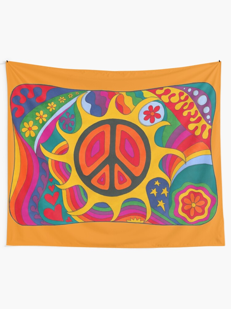 Alternate view of Psychedelic Flaming Peace Tapestry