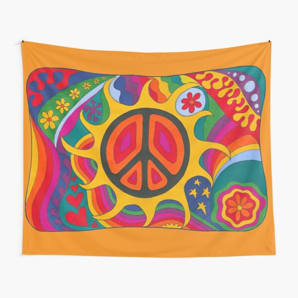 Psychedelic Flaming Peace Tapestry
