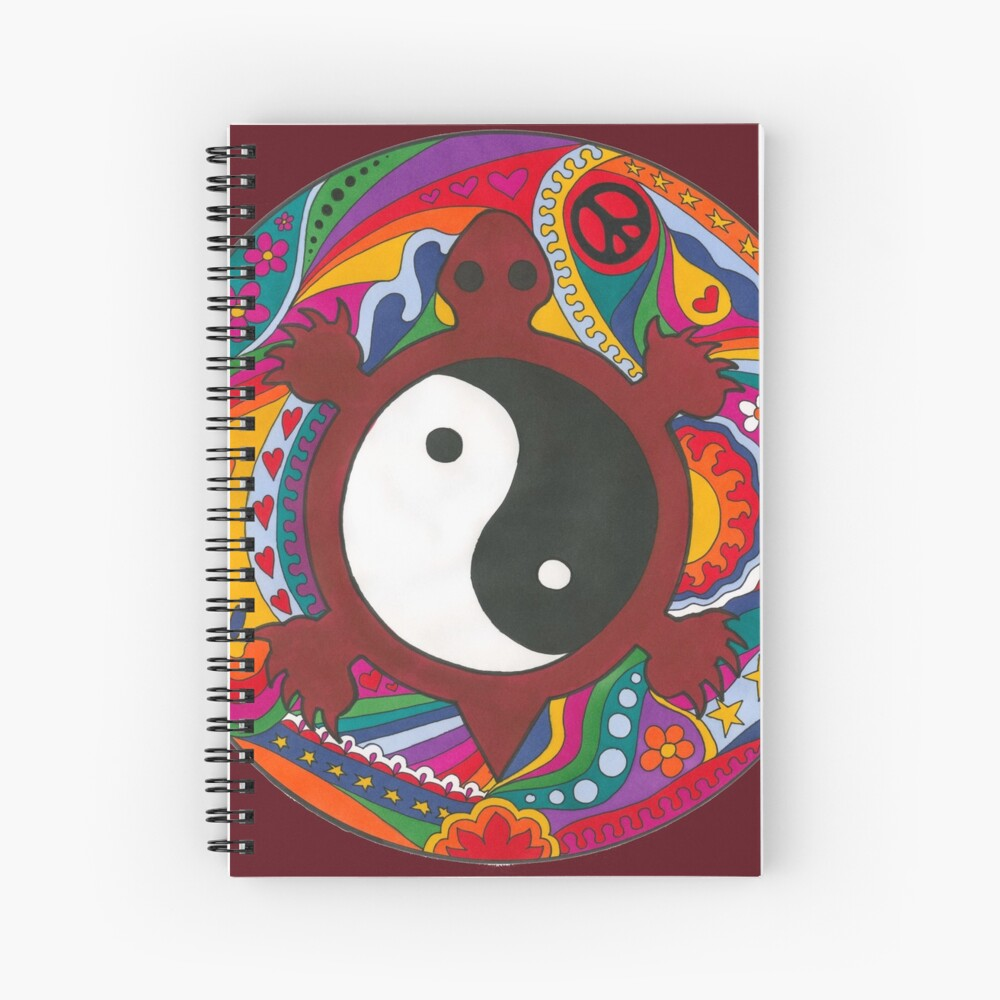 Psychedelic Turtle Yin Yang Spiral Notebook