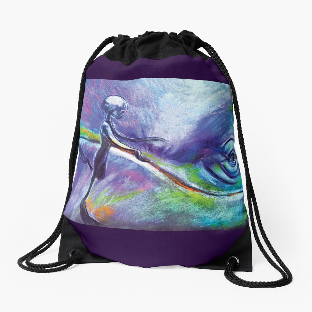 Consulting with the Whale Nations Drawstring Bag