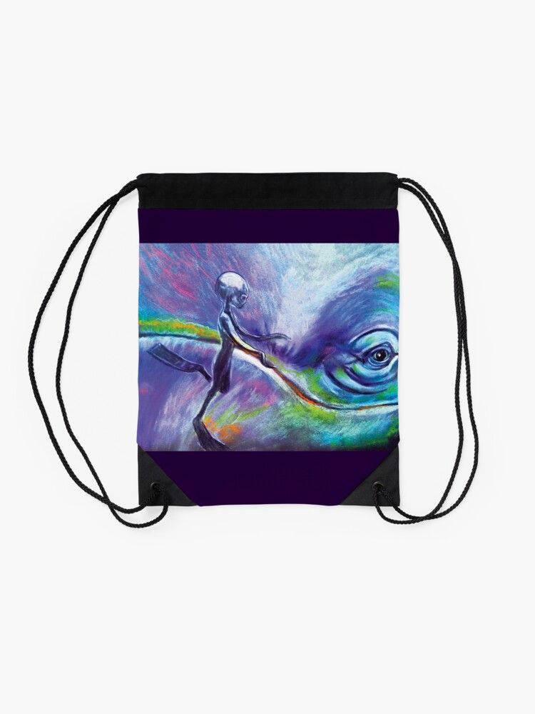 Alternate view of Consulting with the Whale Nations Drawstring Bag