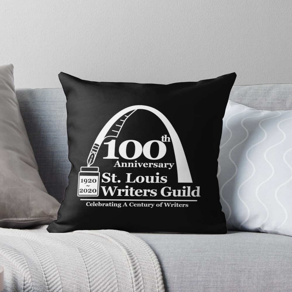 St. Louis Writers Guild 100th Anniv - Logo White Throw Pillow