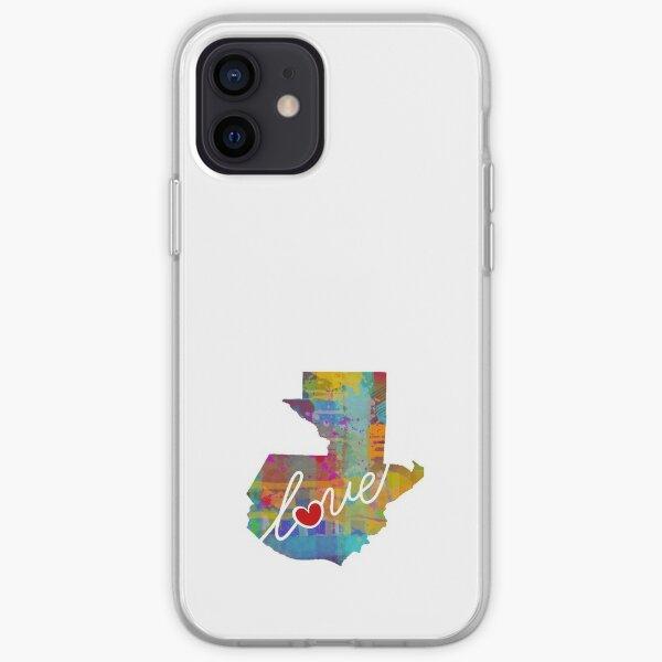 Amor de Guatemala - Una colorida silueta de mapa de estado de acuarela Funda blanda para iPhone