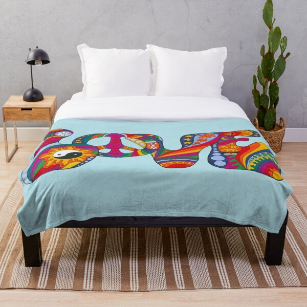 Psychedelic Love Throw Blanket