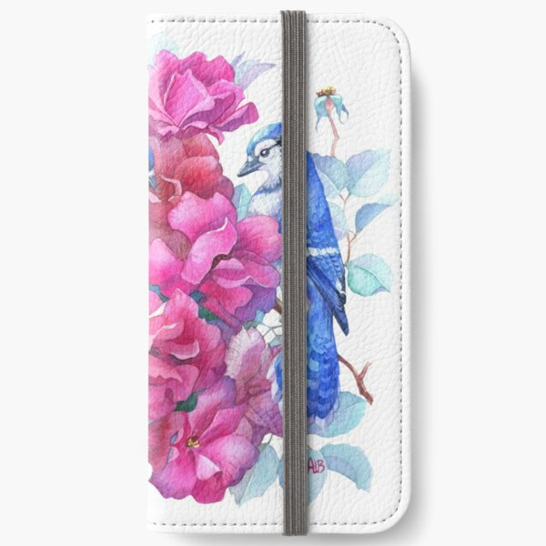 Roses and Blue Jays Watercolor iPhone Wallet