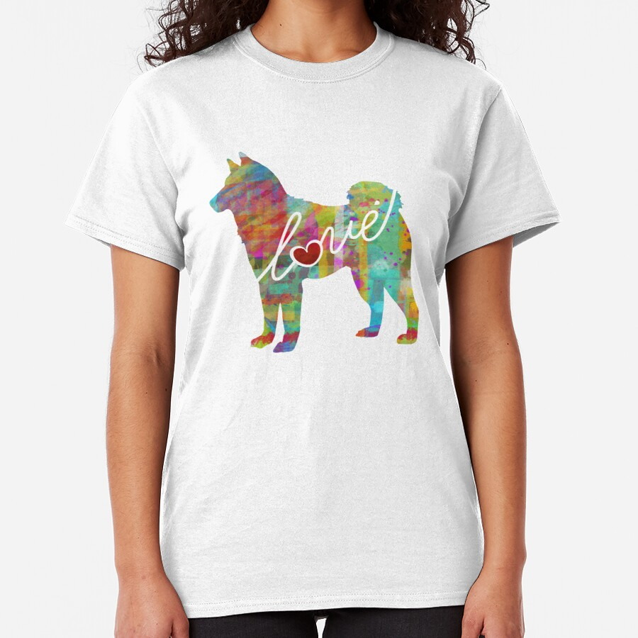 Akita Love - A Bright and Colorful Watercolor Style Gift Classic T-Shirt