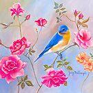 BLUEBIRD IN ROSES by Judy Mastrangelo