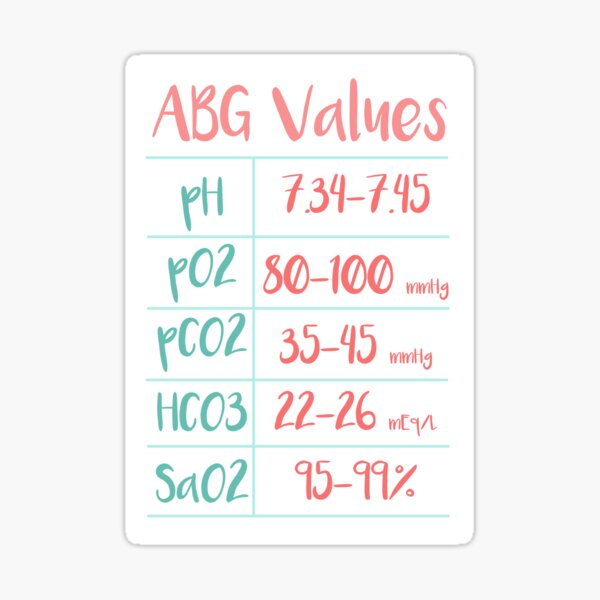 Arterial Blood Gas Values Chart with Mint and Coral Color Palette Sticker