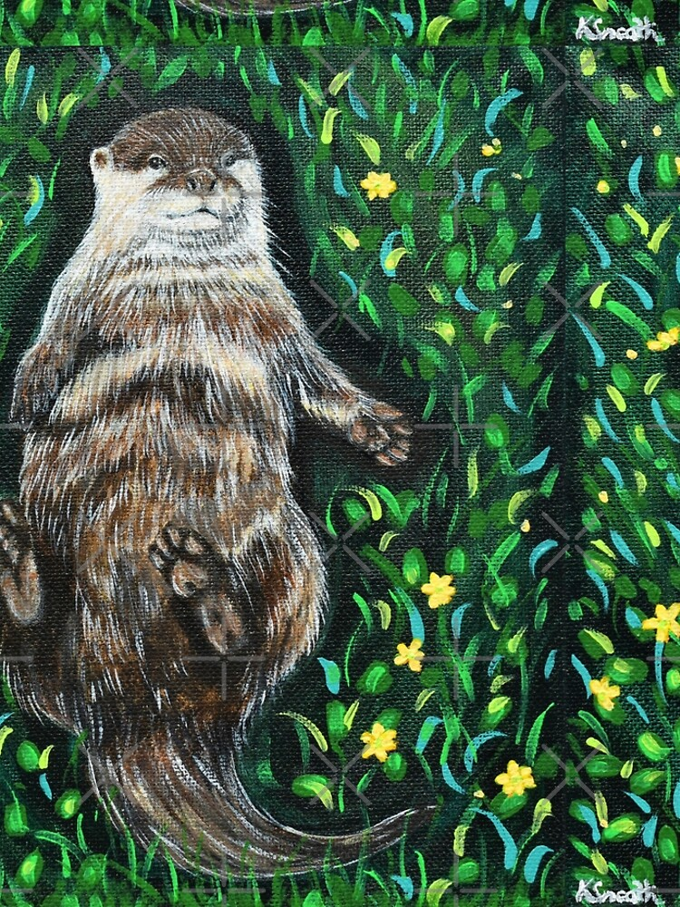 Relaxed River Otter Painting by kirstensneath1