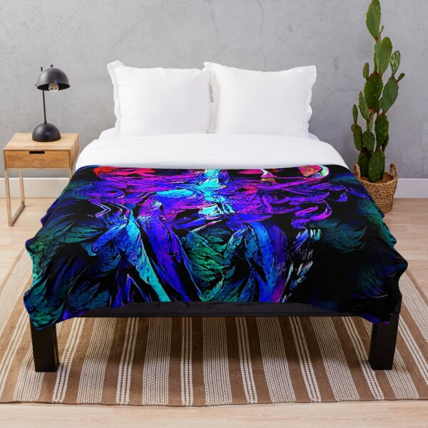 Blacklight Impressionistic Jellyfish Throw Blanket