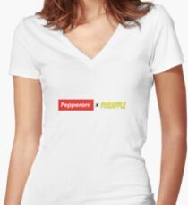 Pepperoni X Pineapple Fitted V-Neck T-Shirt