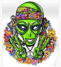 Hippie Alien Peace Sign Psychedelic Festival Poster