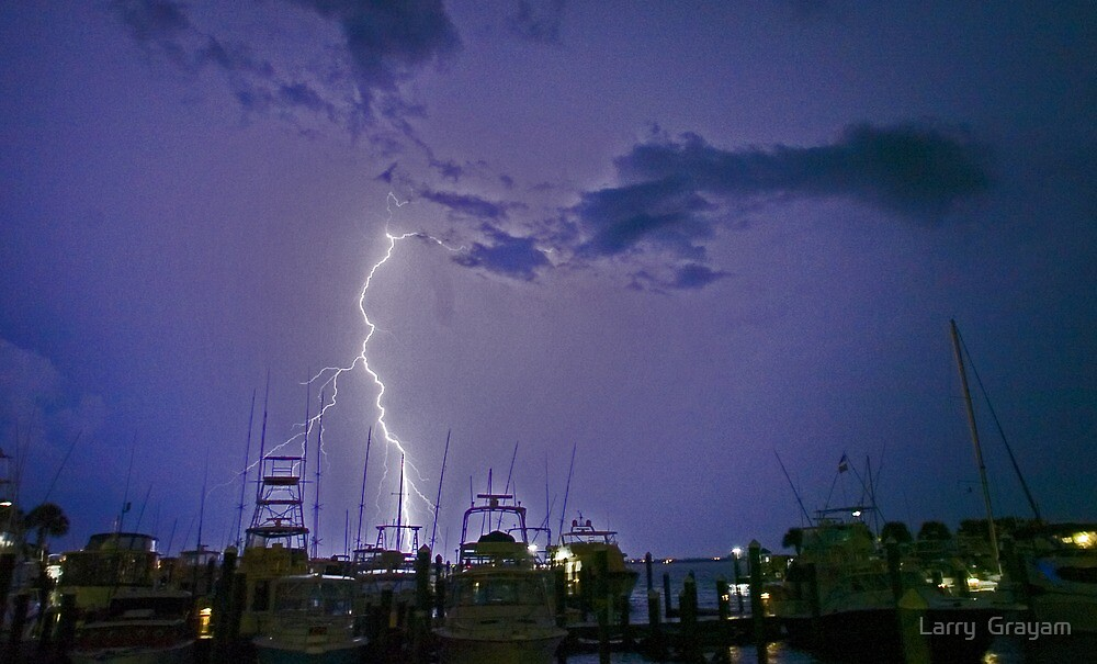 Marina lightning by Larry  Grayam