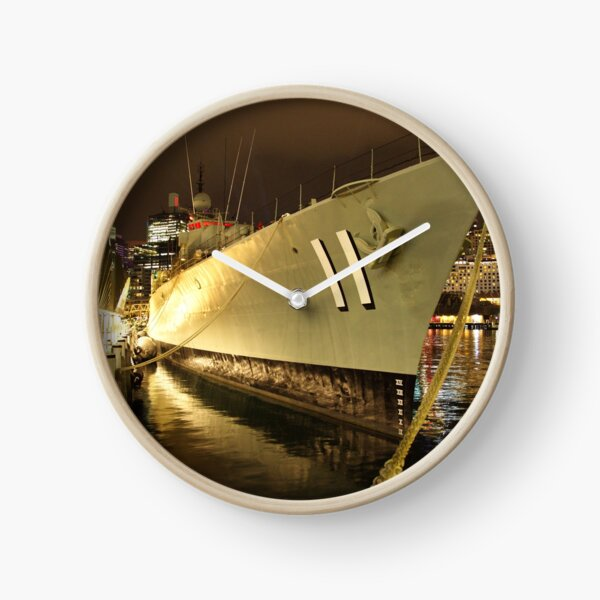 HMAS Vampire at night, Darling Harbour Clock