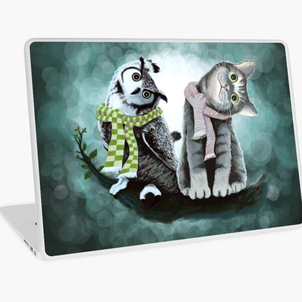 Cat and Owl Laptop Skin