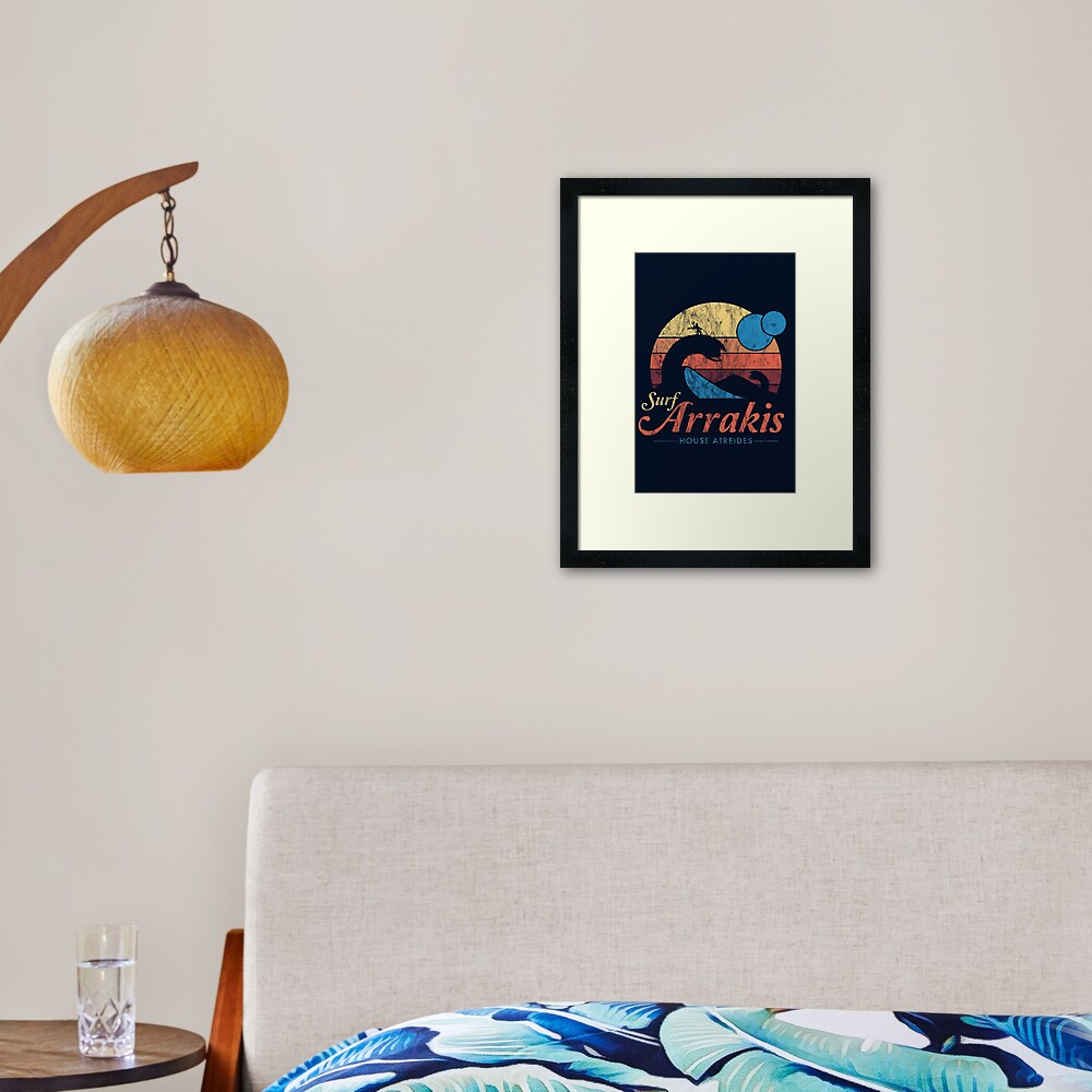Visit Arrakis - Vintage Distressed Surf - Dune - Sci Fi Framed Art Print