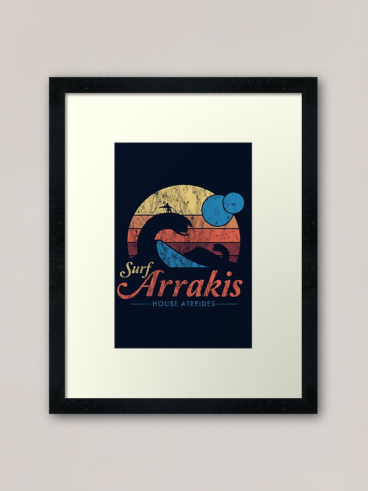 Alternate view of Visit Arrakis - Vintage Distressed Surf - Dune - Sci Fi Framed Art Print