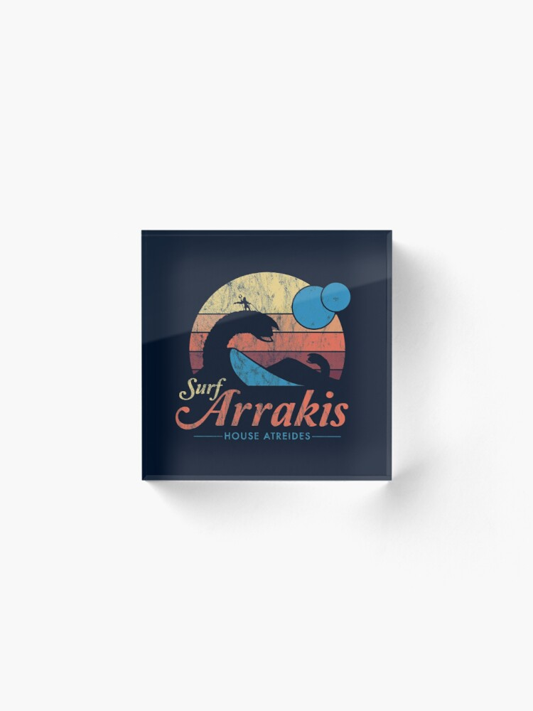Alternate view of Visit Arrakis - Vintage Distressed Surf - Dune - Sci Fi Acrylic Block